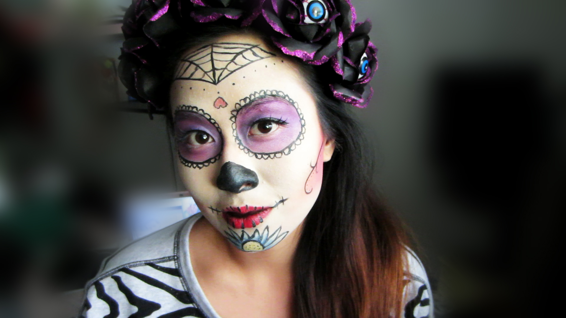 Picture of Sugar Skull Headband and Makeup