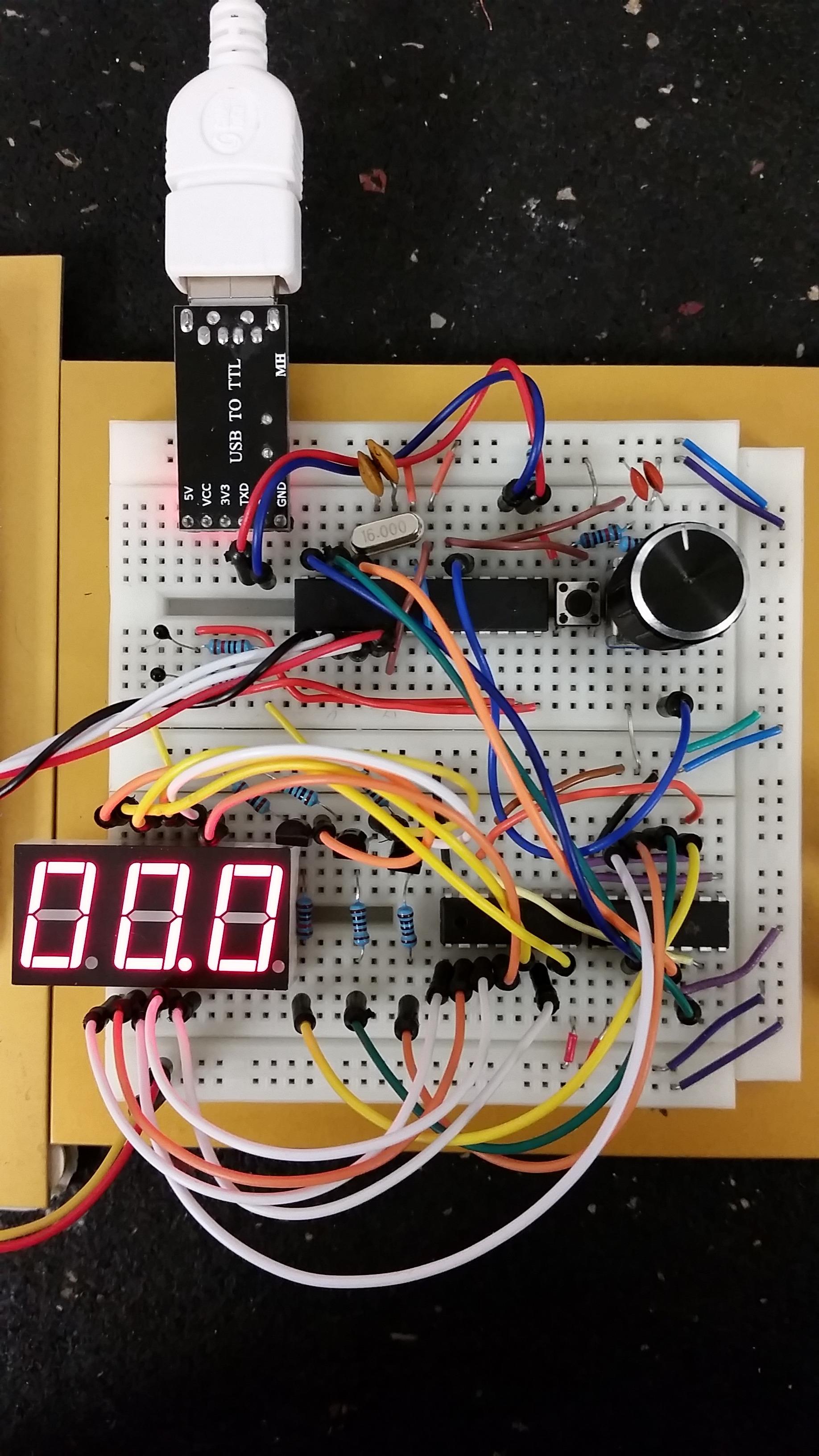 Picture of ATMega328P Rotary Encoder and 7-Segment Display
