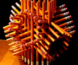 Geometric sculpture from 72 pencils