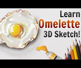 3D Pencil Drawings: How To make Amazing 3D Omelette Sketch