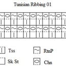 Ribbing 01 Pattern Chart for Tunisian Crochet