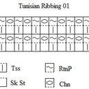 Ribbing 01 Pattern Chart for Tunisian Crochet