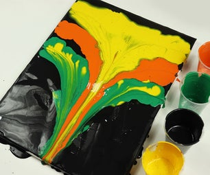 Acrylic Pouring String Pull Abstract Flower Painting