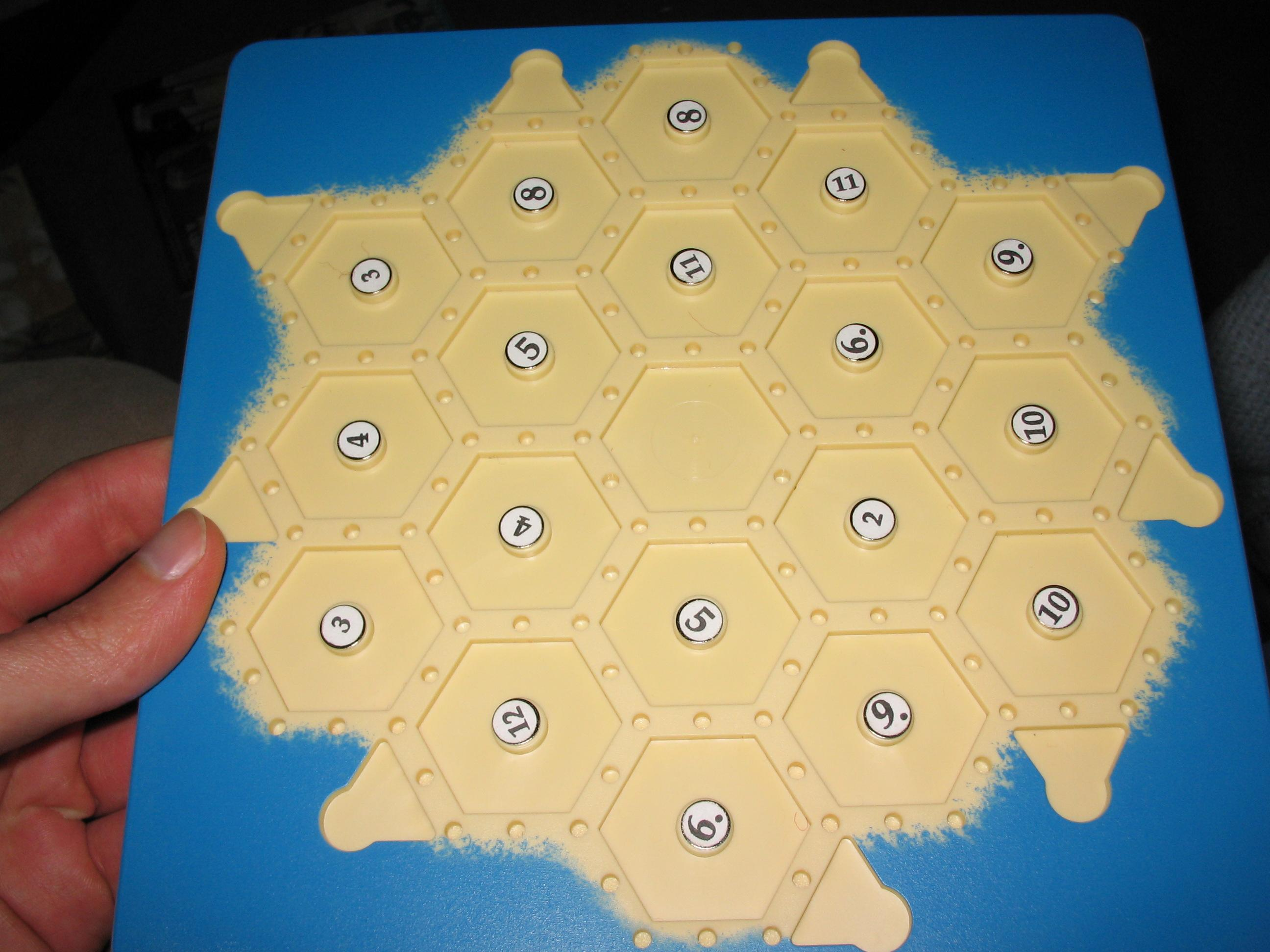 Picture of Modifying Settlers of Catan Travel Edition to Include Customizable Numbered-Spaces