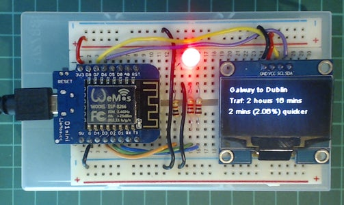 Arduino Traffic Display Using Google Maps API