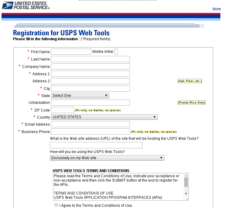 Picture of Setup USPS Web Tools.