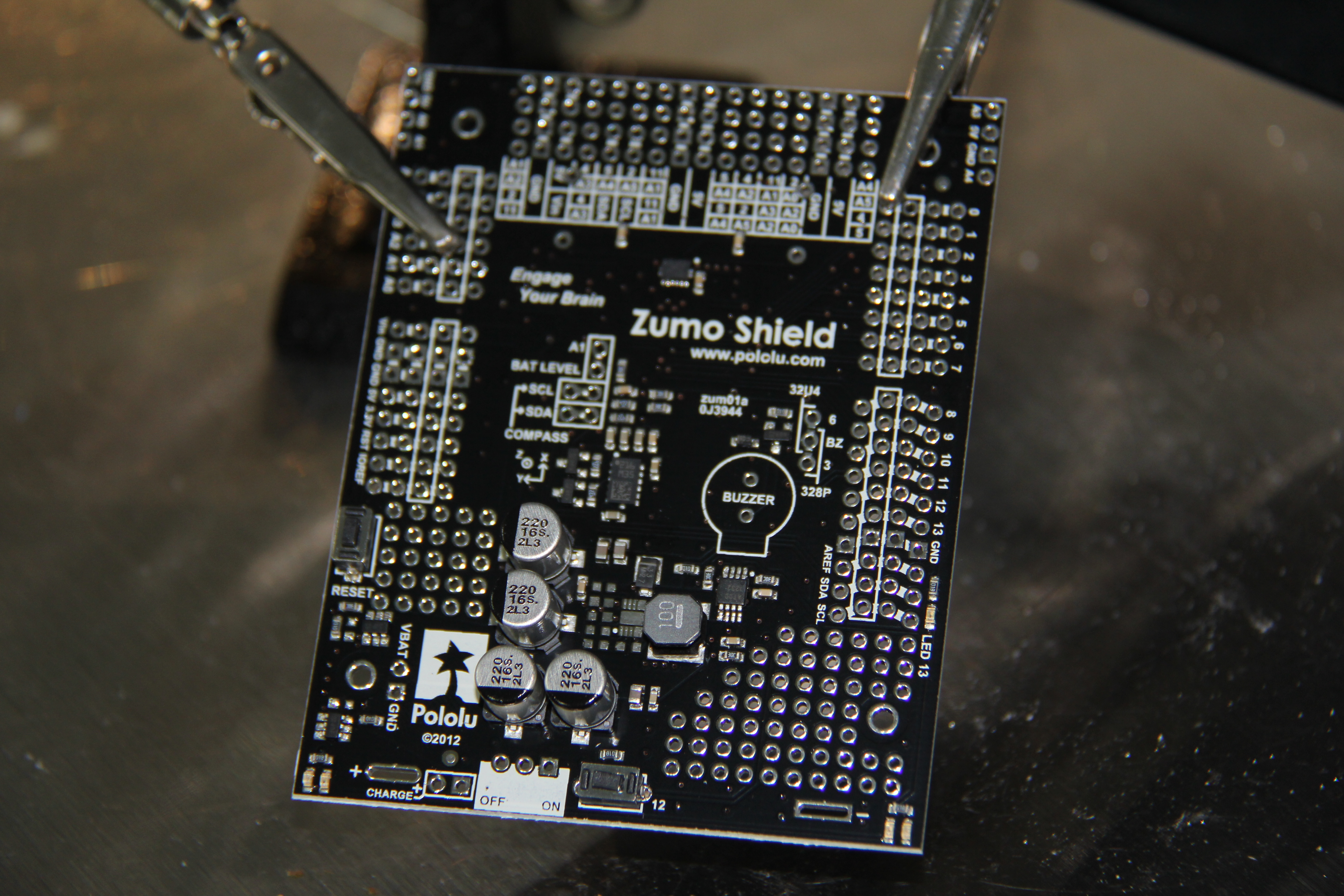 Picture of Soldering the Zumo Shield