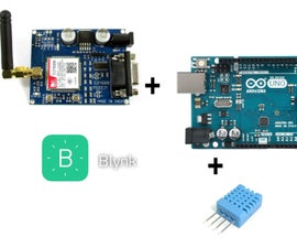 Blynk+GSM Sim800+Arduino Uno+DHT11