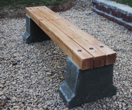 Wood & Concrete Outdoor Bench