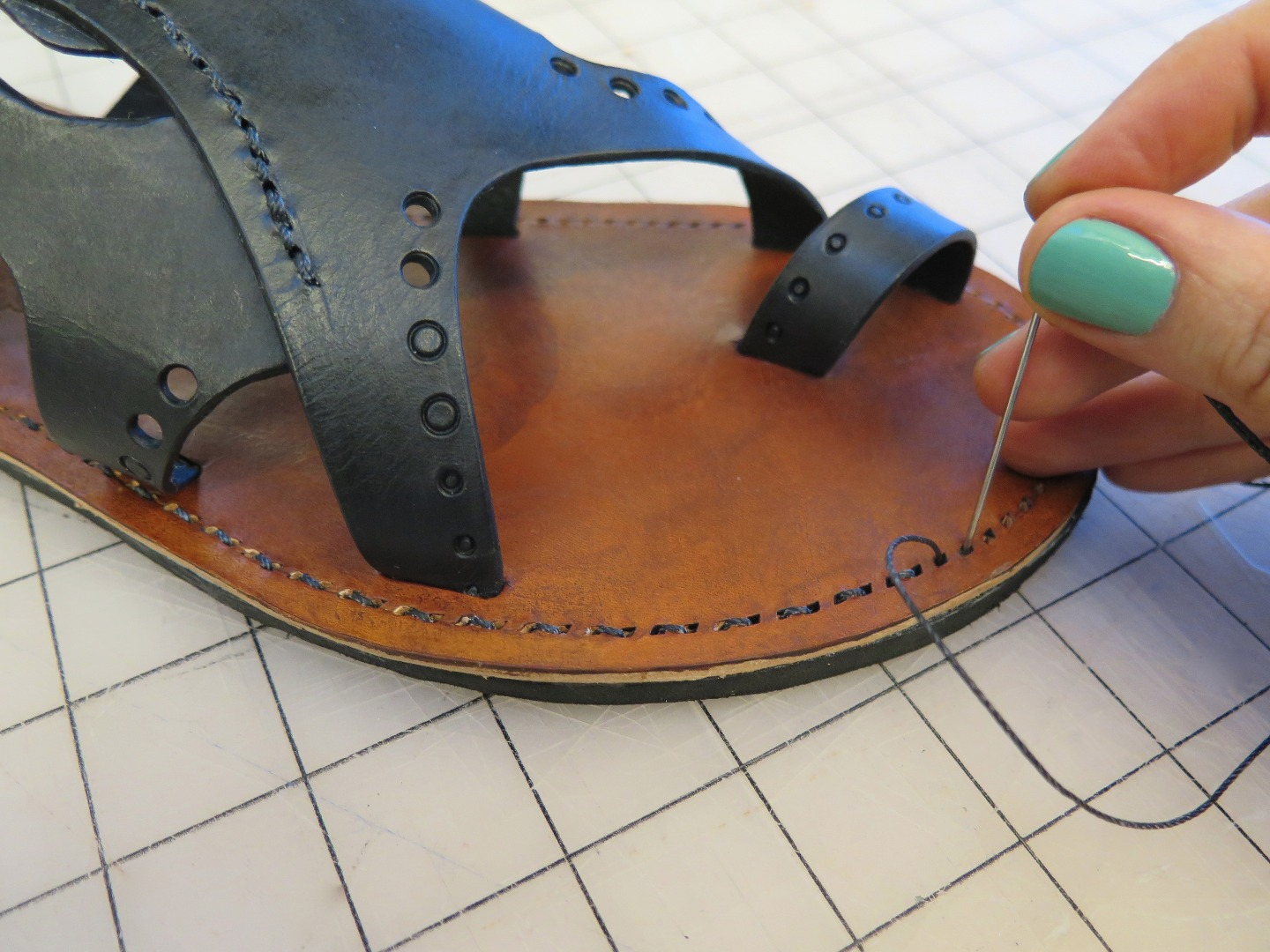 Picture of Sewing the Sole to the Midsole