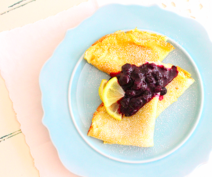 Crêpes With Lemon Blueberry Compote