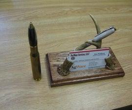 Desk Set Pen and Business Card Holder - Whitetail Deer Antlers