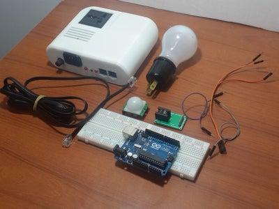 Arduino Board and PIR Motion Sensor Control AC Lamp