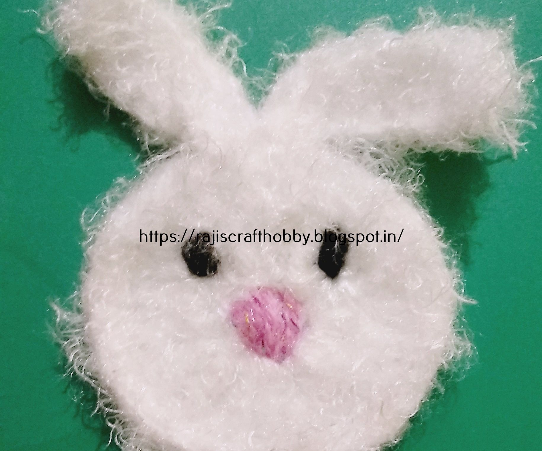Easy crochet bunny applique pattern steps