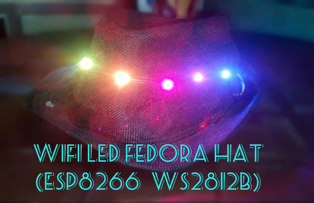 Picture of WiFi Led Fedora Hat (ESP8266 + WS2812b)