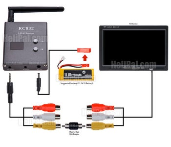 RC832 Receiver Setup With FPV Monitor or TV