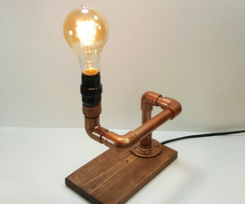 Edison Lamp Made With Wood and Faux Copper Pipe