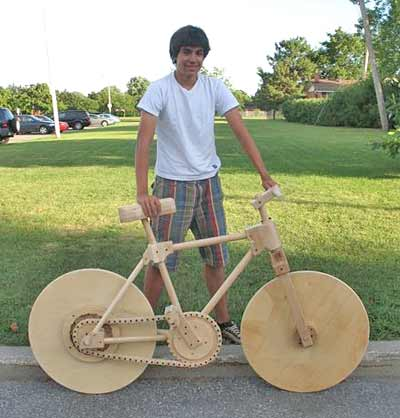 Picture of 16 Year Old Builds a Bike Entirely Out of Wood!