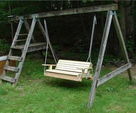 make an old swingset into a two person hanging swing