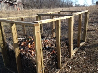 Compost Bin: Wood and Wire Mesh