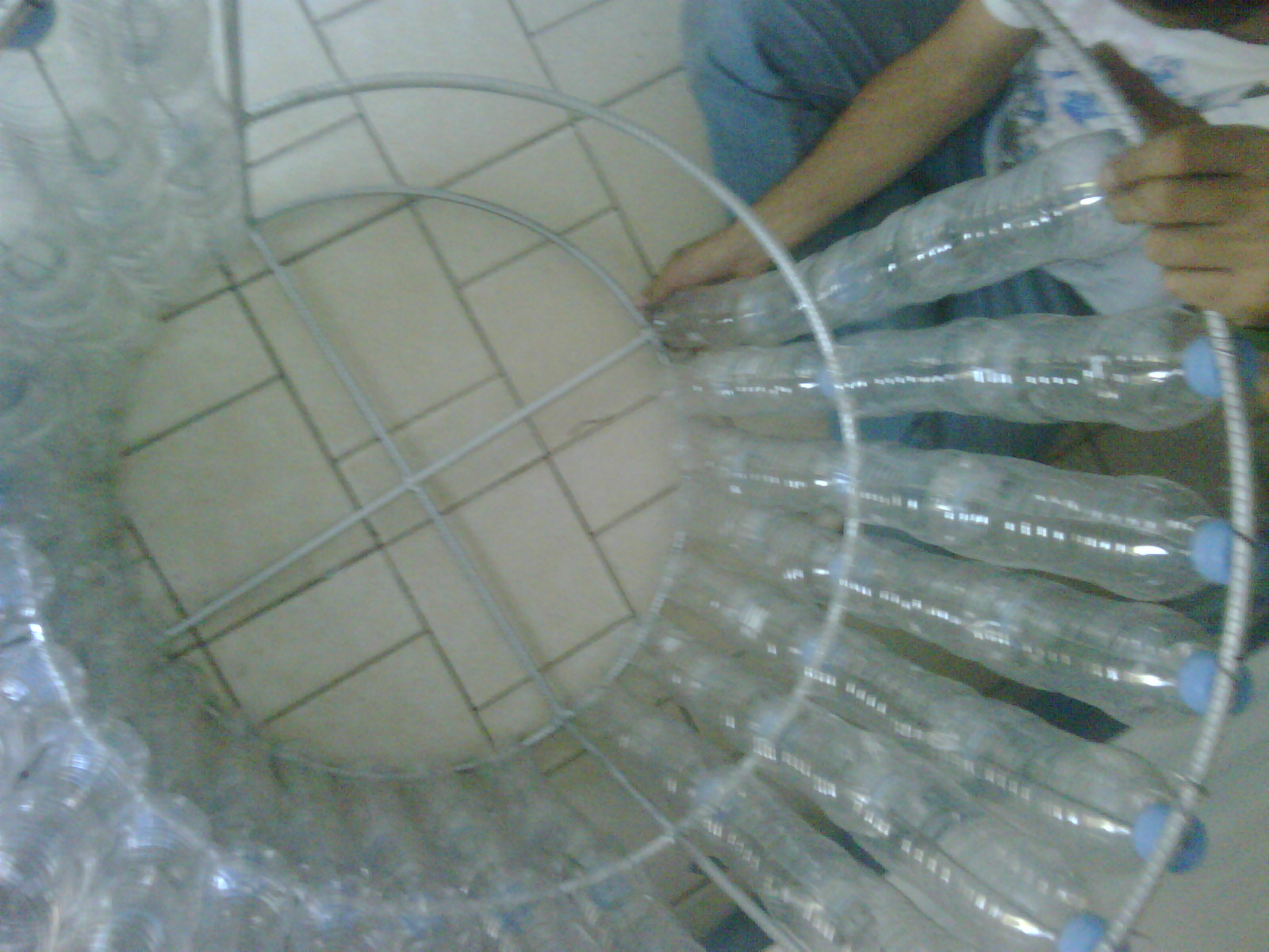Picture of Trash Can Made of Plastic Bottles