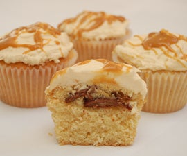 vanilla caramel cupcakes with salted caramel frosting