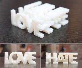 Love and Hate 3D Printed Word Blocks