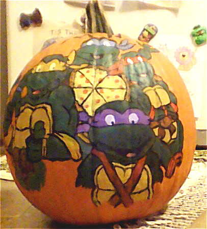 Picture of Halloween TMNT Pumkin. I Painted for My Daughter.