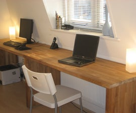 Big oak desk from kitchen worktops