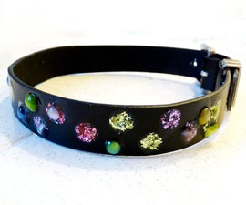 """""""Jeweled"""" Dog Collar from an Old Belt"""