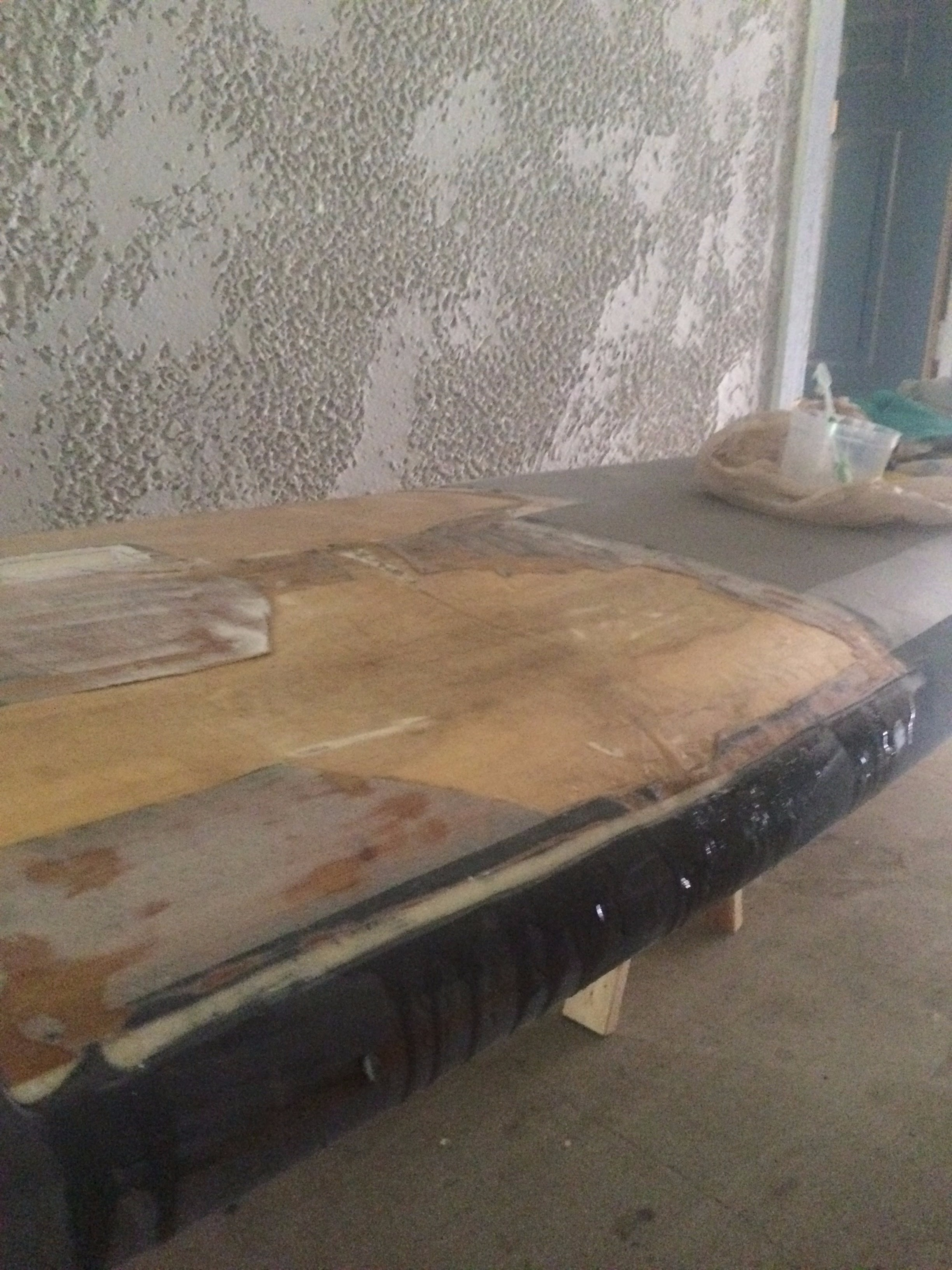 Picture of Third Epoxy Layer, Second Fiber Glass Layer & Final Layer of Fiberglass