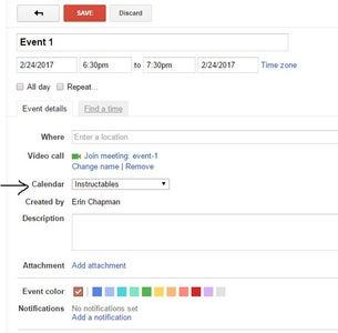 Adding Events to the Calendar
