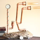 Steampunk Copper Lamp with Rock Base