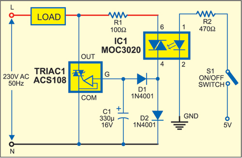 Picture of Circuit of AC Switch Control With Opto-triac