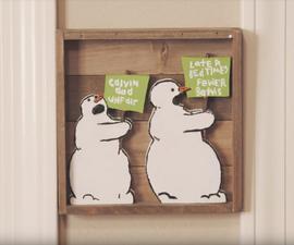 Wood Calvin and Hobbes Snowmen
