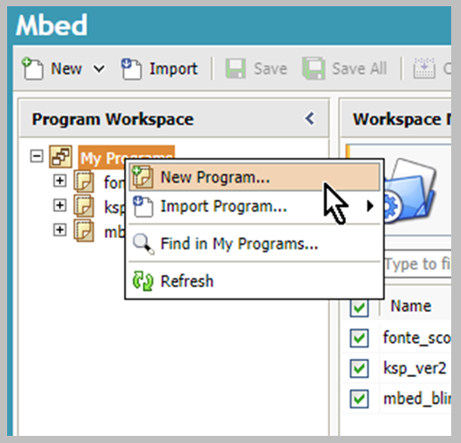Picture of New Program in MBED