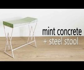 Mint Green Concrete & Steel Stool