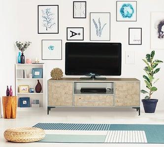 TV Unit With Wood Slice Veneer