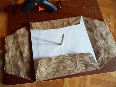 Glue the Burlap to the Cardboard