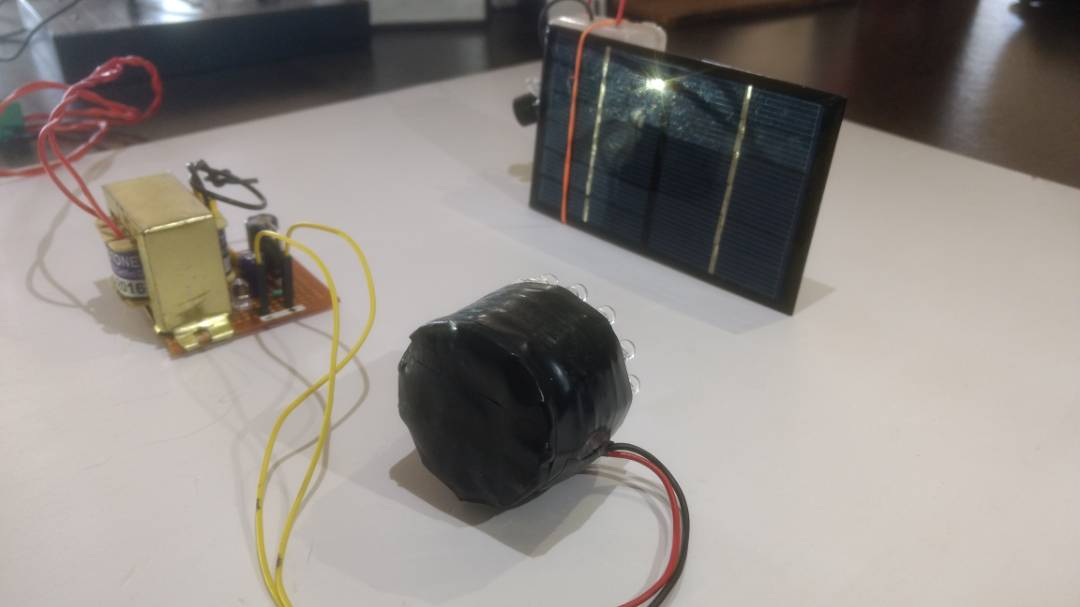 Picture of DIY Wireless Transmission Using IR LED and Solar Panel.