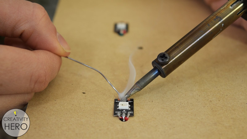 Picture of Inserting the LEDs and the IR Proximity Sensors.