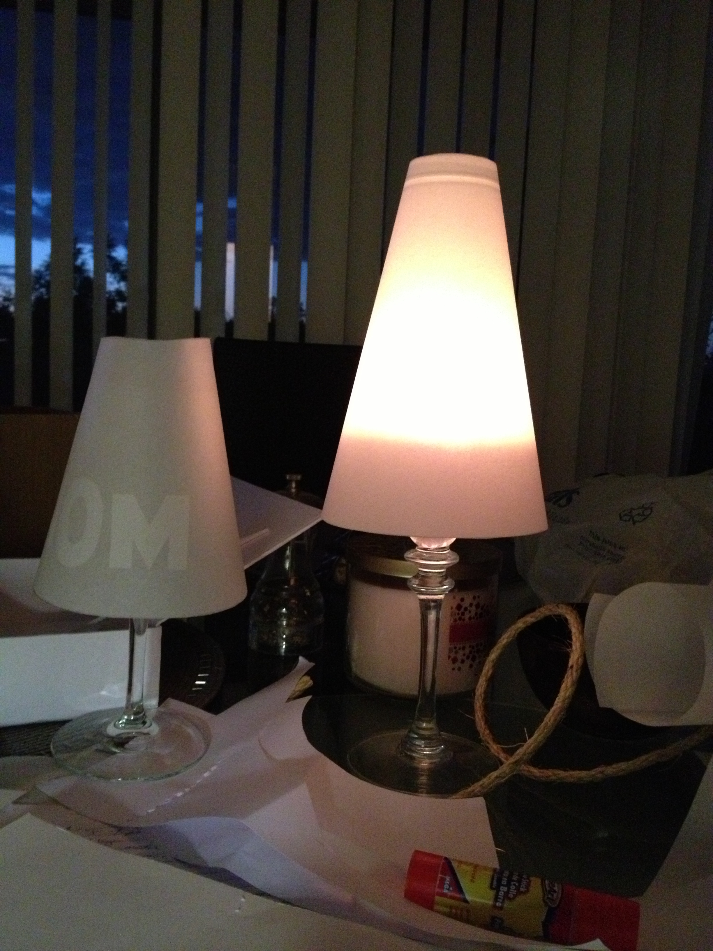 Picture of Wine Glass Lamp Shade (Wedding Place Markers?)