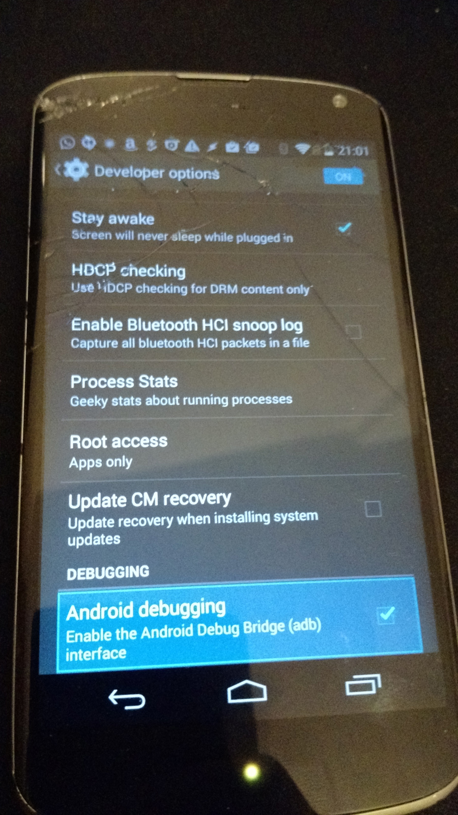 Picture of Sending Commands and Enabling ABD Android Debugging