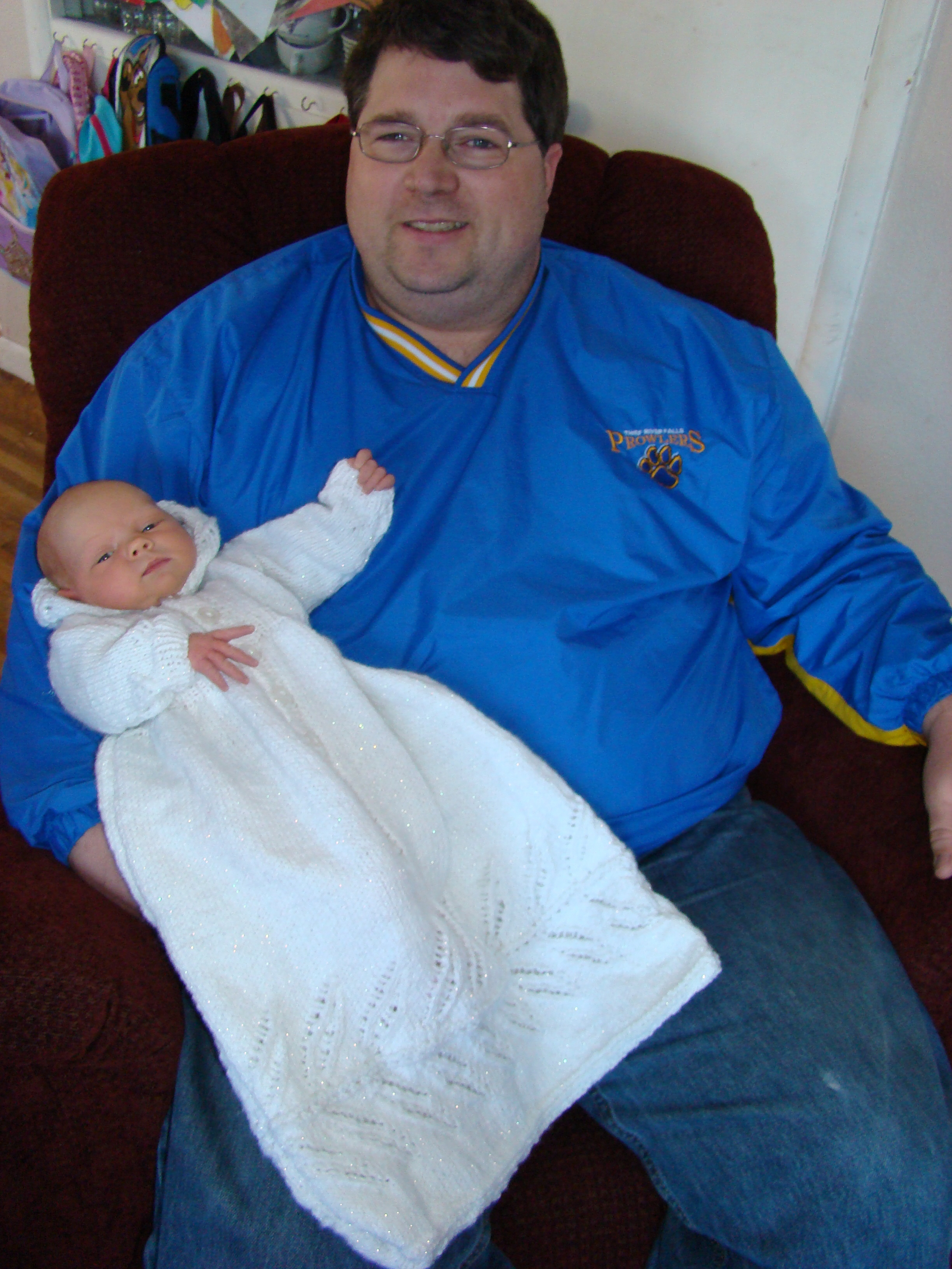 Picture of Daddy, Baby Brenna, and the Baptismal Gown!