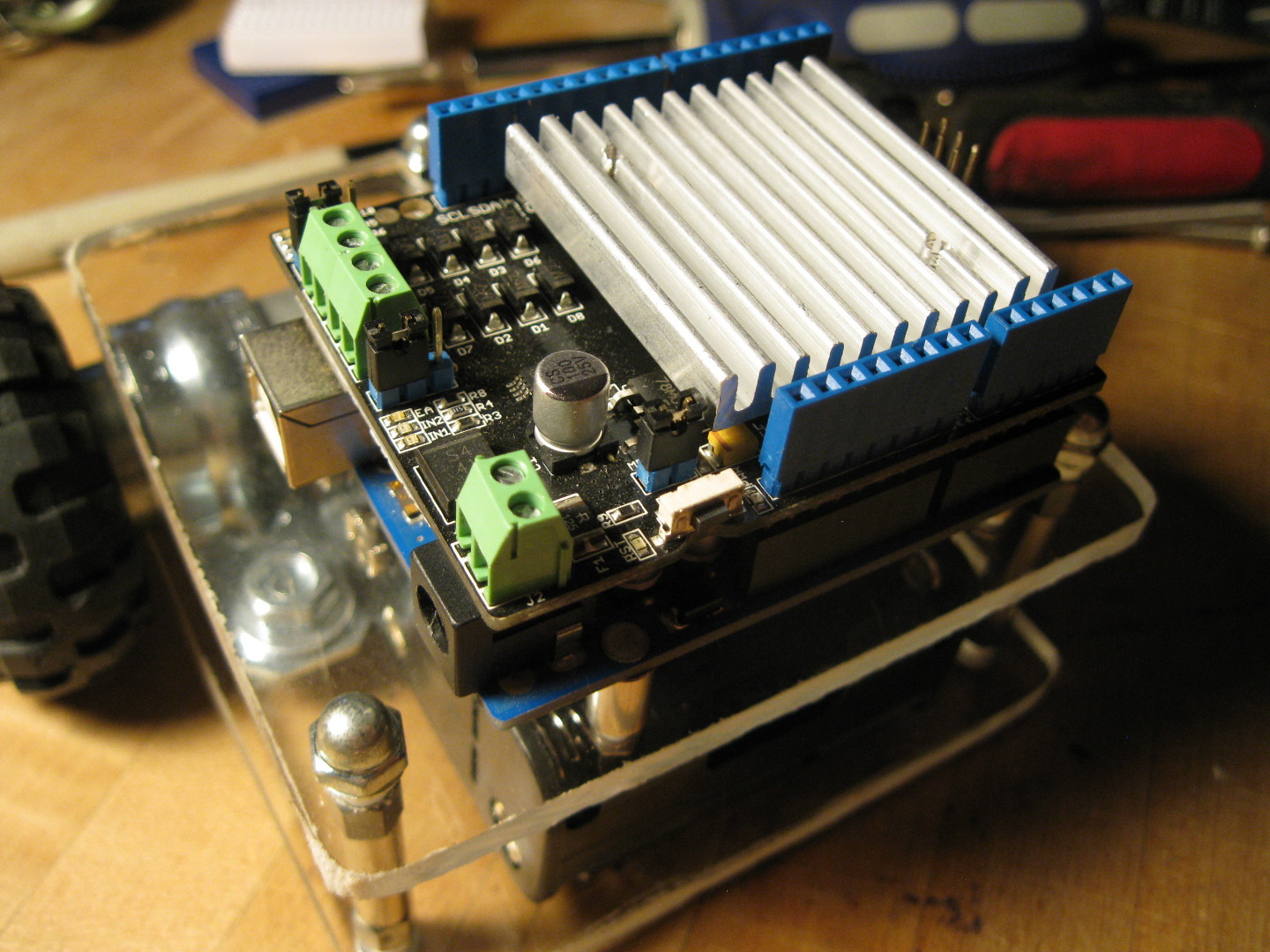 Picture of Adding the Motor Shield and Breadboards