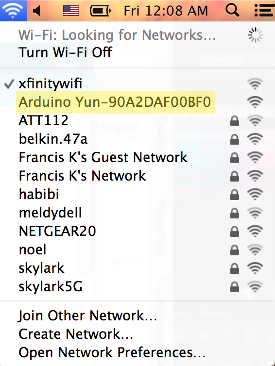 Picture of Change Your Wifi Network to the One Produced by the Yun