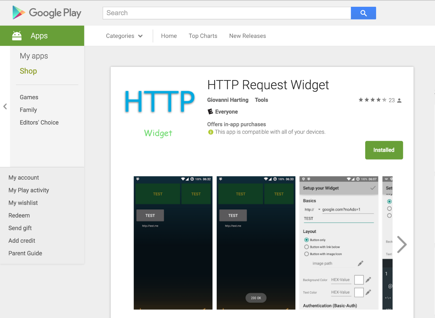 Picture of Install Android Widget App and Gather Required Information.