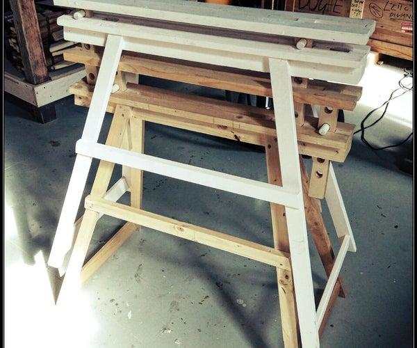 Adjustable Wood Sawhorse