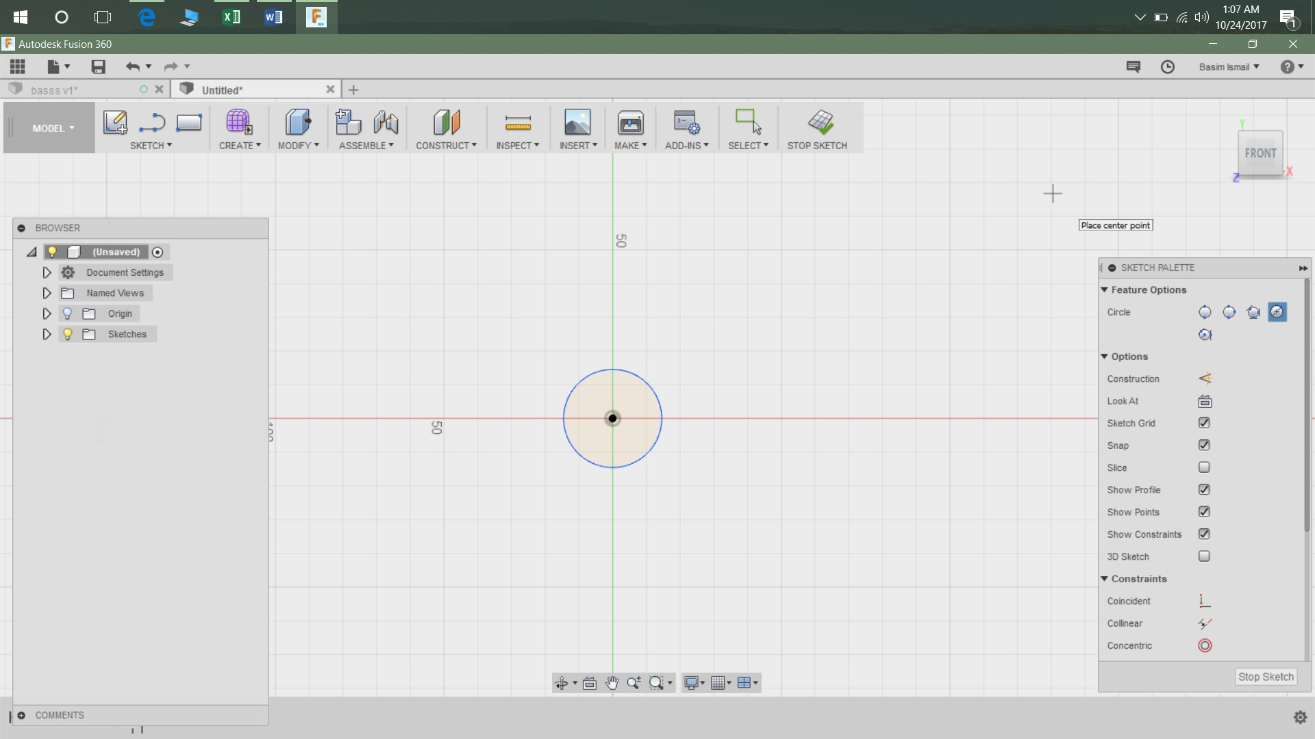 Picture of Step 1: I Started My Simple Design in Fusion 360 With a Circle of Diameter 25mm