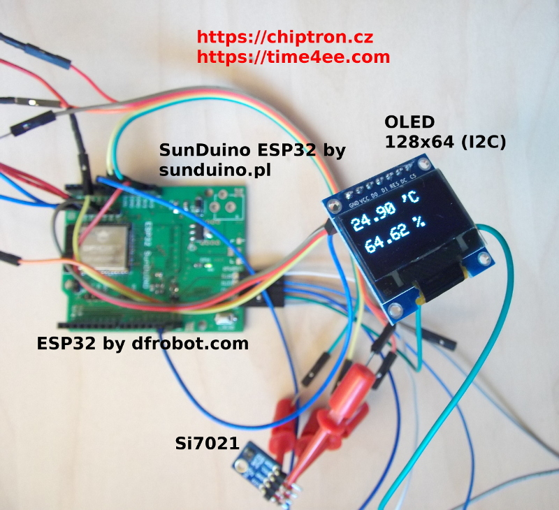 Picture of ESP32 - Temperature/humidity Sensor (Si7021) and OLED